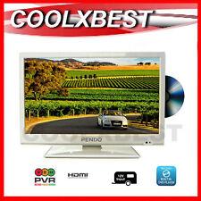 """18 .5"""" (19"""") LED HD DIGITAL TV DVD COMBO WHITE USB PVR 12v 240v HOME CARAVAN"""