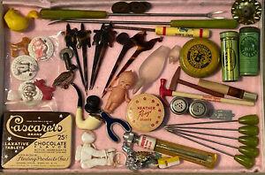 Vintage Antique Old Estate Junk Drawer Lot Cuppie Animal Medicine