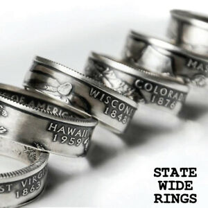 US State Quarter Coin Ring ANY STATE! Sizes 8-12