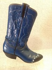 Womens Tony Lama Boots Blue with Cool Black/White Detailing Size 5AA Nice!