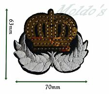 Gold Crown White wings Badge Patch Sequin Sew Bright Iron on Motif Applique 392