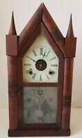 Antique 1860s BREWSTER & INGRAHAMS Victorian Rosewood Steeple Mantel Alarm Clock
