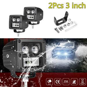 2X 3in 128W 12800LM Car LED Work Light Bar Fog Lamp Flood Spot Combo Waterproof