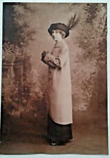 Antique Portrait Young Woman In Duster Gloves Feather Hat