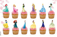 24 PRECUT DISNEY PRINCESS STAND UP EDIBLE CAKE TOPPERS QUALITY WAFER CARD