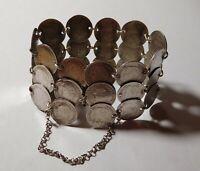 Rare bracelet manchette Napoléon III - argent massif