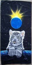 "Beach Blanket Towel White Tiger Crown Jewel 30"" x 60"" New 100% Cotton Schimmel"