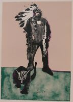 Untitled Fritz Scholder Mono Print Lithograph, 30x22 Indian Chief and Cat