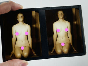 Antique Erotic Nude Stereoview Glass Slide sepia naked woman flapper 20s 30s