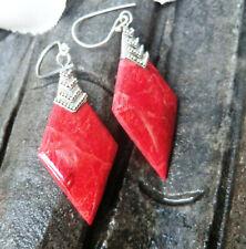 Korallen Ohrringe Rot Raute Ohrhänger mit 925 Sterling Silber Verzierung Neu