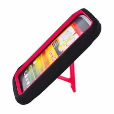 For T-Mobile HTC ONE S Impact Hard Rubber Case Phone Cover Kick Stand Black Red