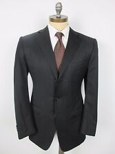 ERMENEGILDO ZEGNA Suit 52R EU 42R US Black Stripe Dual Vent Jacket Pants Italy