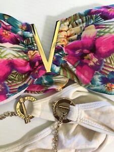 Vintage Victoria Secret bandeau bikini with gold logo tropical floral cream S/M
