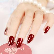24pcs Vampire Queen Fake Nails Short Sharp Head Wine Red Sliver Side False Nails