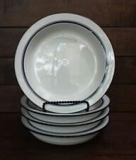 Set of (4) Dansk Bistro CHRISTIANSHAVN BLUE Rimmed Soup Bowls - Made in Portugal