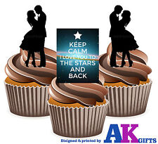 I Love You to the Stars and Back Silhouette Love Mix 12 Edible Cup Cake Toppers