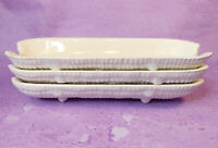 White Ceramic Corn on the Cob Holders Dishes Patent Pend 95420 Set of 3 Vintage