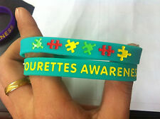 Tourettes  Awareness Jewellery, Tourettes Wristband,Teal, 8in, Adult size