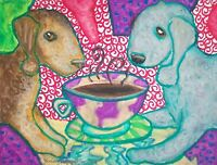 BEDLINGTON TERRIER Drinking Coffee 8 x 10 Dog Art Print Signed by Artist KSAMS