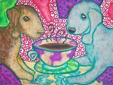 Bedlington Terrier Drinking Coffee 8 x 10 Dog Art Print Signed by Artist Ksams