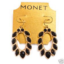 """Monet Goldtone Simulated Onyx Teardrop Pierced Earrings 2"""" NEW"""