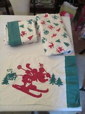 Vintage Disney Flannel Mickey Mouse Skiing Winter Sheets & Pillowcase Twin