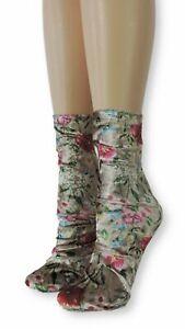 Floral Crushed Velvet Socks