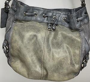 TIGNANELLO Medium Gray Suede Leather Shoulder Hobo Tote Satchel Purse Bag