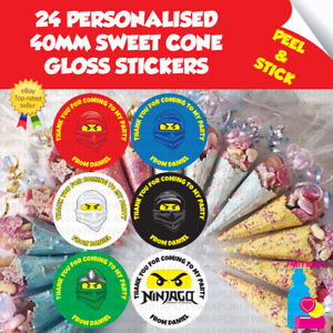 24 Personalised Ninjago Masks Thank You Birthday Party Sweet Cone Stickers Seals
