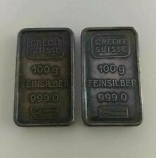 CREDIT SUISSE 100 GRAM FEINSILBER 999.0 SILVER BAR BULLION SWISS - LOT OF 2 BARS