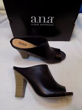9.5 M ANA A New Approach Black Faux Leather Ladies Shoes HIGH Heels Mules ISHA