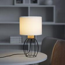 LED Tischleuchte Design Stoff Schirm Eiche schwarz Rund Draht Käfig Leucht T144*