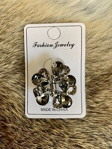 Small Rhinestone and Crystal Metal Jaw Hair Clips Hair Claw Clip Silver