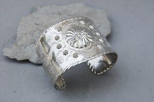 "Stamped Southwest Indian Cuff Bracelet Wide 1 3/4"" Silver Tone Western Retro"