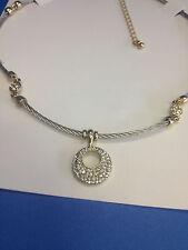 Lady Fashion Jewelry Elegant Pendant Necklace Silver Gold Tone Shiny Stones
