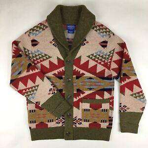 Pendleton Journey West Lambs Wool Shawl Collar Cardigan Sweater size M