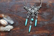 Gorgeous Handmade Silver Bead, Flower Heart & Turquoise Spikes Pendant Necklace