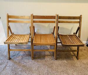Set Of 3 Vintage Wood Slat Folding Stadium Auditorium Chairs