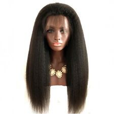 Lace Front 24'' Synthetic Wigs For Black Women Yaki Straight Afro Wig Hairpieces
