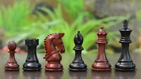 "3.5"" Ebony Wood and Bud Rose Wood Staunton Chess Set Pieces Coins 4Q FREE P&P"