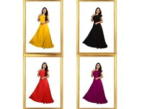 Traditional Designer For Women Ethnic Ready Made American Crepe Gown KZPU1-8