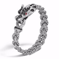 John Hardy Sterling Silver 15'mm Naga Dragon Black Sapphires Ruby Weave Bracelet