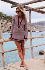 Tory Burch $295 Tory Tunic Top Zero 0  NWT Ivory Navy Red Sand Dotted Stunning
