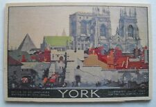 YORK - CLASSIC TRAVEL POSTER IMAGE ON  Collectable / Mailable WOODEN POSTCARD