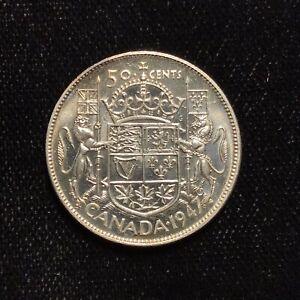 1947 50c Silver Half Dollar Canada - Nice UNC Example - F1542