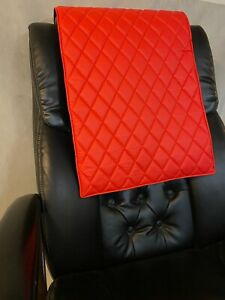 BRIGHT RED quilted recliner sofa chair love seat headrest arm rest leather pad