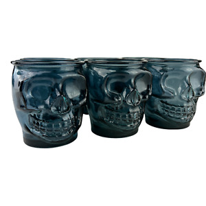 Set of 6 Blue Skull Drinking Tumblers Cocktail Glasses - Halloween Party