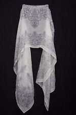 Pale Yellow & Grey Contemporary Tribal Print Sheer Trendy Boho Style Scarf S176