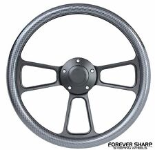 "14"" Black Billet Carbon Fiber Steering Wheel w/ 69-94 Chevy GM Ididit Adapter"
