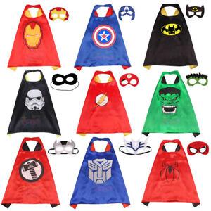 Kids Boy Girl Superhero Princess Cape And Mask Dress UP Theme Party Fancy Capes